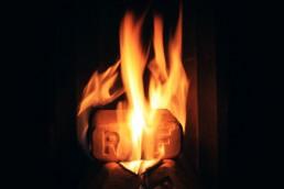 Holzbrikett im Ofen, Feuer